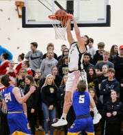 Waupun's Marcus Domask dunks against Campbellsport on Dec. 14, 2018, in Waupun. Domask leads the Warriors in scoring, rebounding and assists.