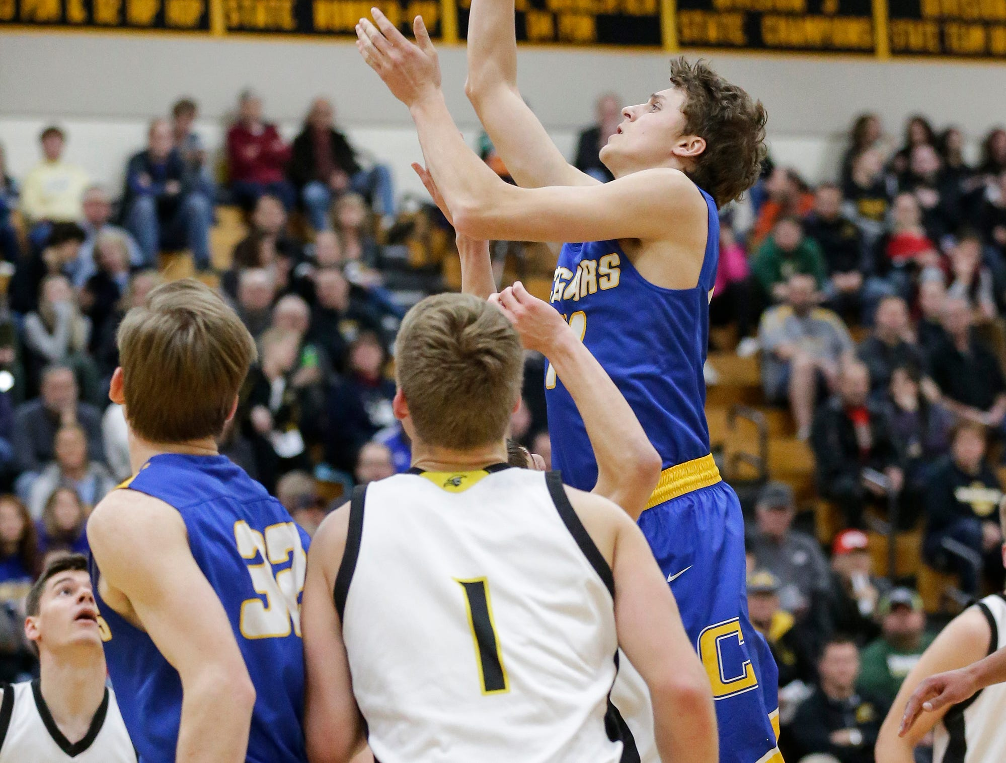 Campbellsport High School boys basketball's Lucas Gierach goes up for a basket against Waupun High School during their game Friday, December 14, 2018 in Waupun. Waupun won the game 64-33. Doug Raflik/USA TODAY NETWORK-Wisconsin