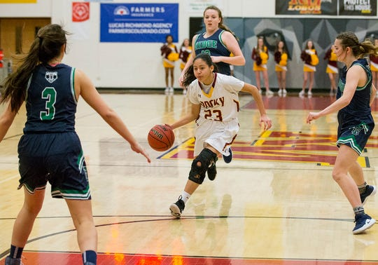 Laisha Aremendariz-Lopez, shown driving in a Dec. 14 game against ThunderRidge, and her Rocky Mountain High School girls basketball teammates will play a home game at 6:30 p.m. Tuesday against Boulder.