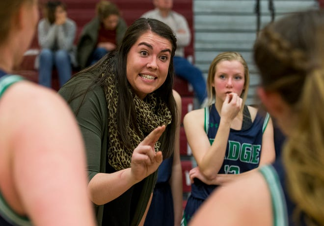 ThunderRidge High School girls basketball coach former CSU standout Samantha Martin Gillmore coaches her team during a game Friday Dec., 14, 2018, at Rocky Mountain High School in Fort Collins. (Michael Brian/For the Coloradoan)