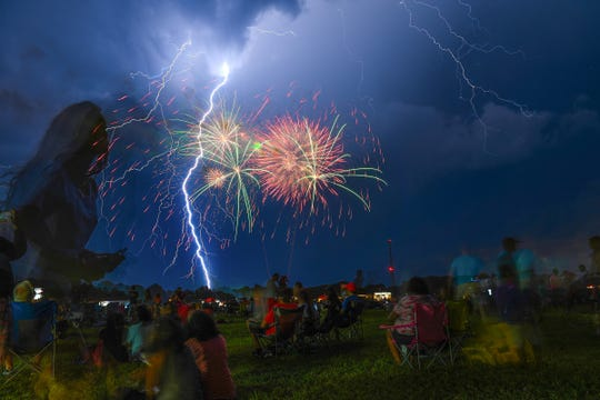 Mother Nature took part in the fireworks show during the annual Clemsonfest in Central Tuesday, July 3, 2018.