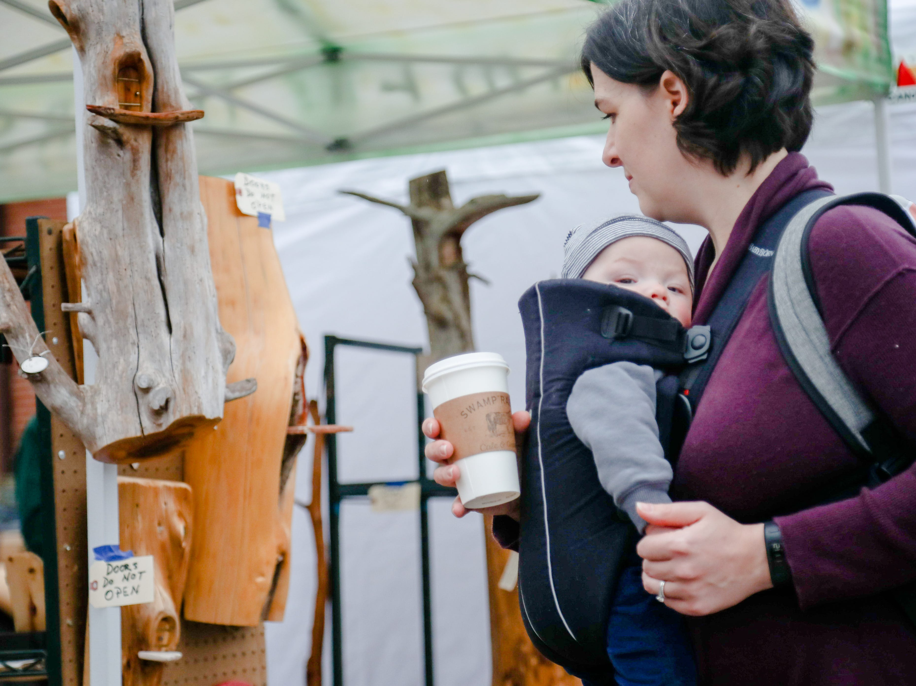 Carrie Prince and 5 month old Oliver shop doin a little shopping. The Swamp Holiday Flea at the Swamp Rabbit Cafe & Grocery featuring local artists, woodworkers, candle makers, potters, and dog-treat bakers.  In addition to 40+ vendors, and  music from a local acoustic band. Saturday December 15,2018