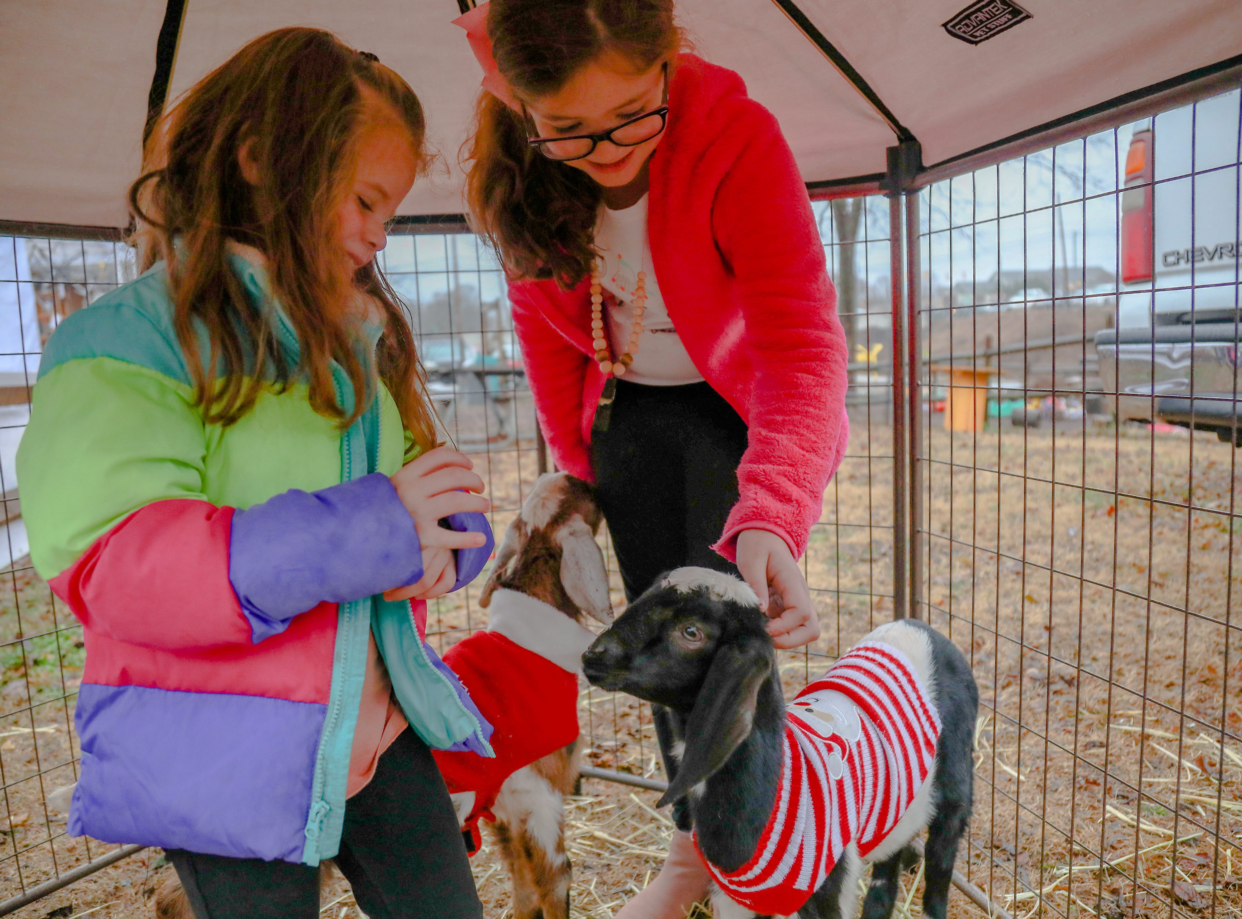 Mora and Emy Stinehart  pet some Christmas goats. The Swamp Holiday Flea at the Swamp Rabbit Cafe & Grocery featuring local artists, woodworkers, candle makers, potters, and dog-treat bakers.  In addition to 40+ vendors, and  music from a local acoustic band. Saturday December 15,2018