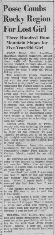 From the Great Falls Tribune, Nov. 9, 1937.