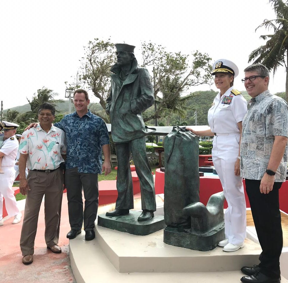 GovGuam, Navy officials unveil Lone Sailor at Adelup