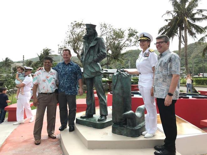 From Left: Yigo Mayor Rudy Matanane, Lt. Gov. Ray Tenorio, Rear Adm. Shoshana Chatfield and Rear Adm. Frank Thorp (Ret.)