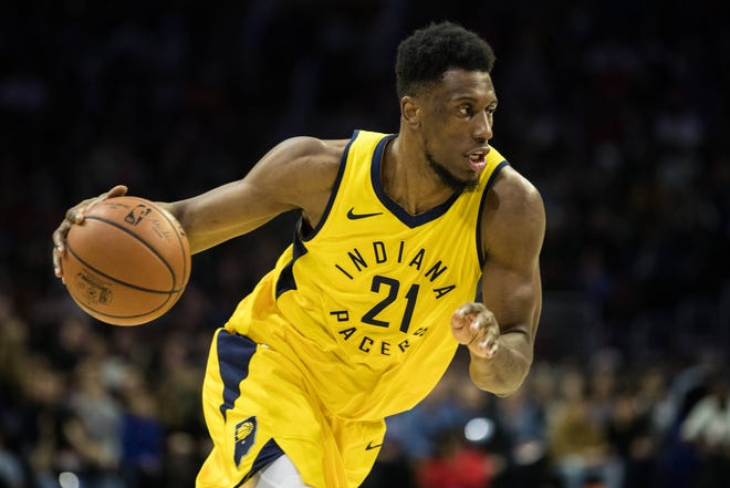 Dec 14, 2018; Philadelphia, PA, USA; Indiana Pacers forward Thaddeus Young (21) drives against the Philadelphia 76ers during the first quarter at Wells Fargo Center. Mandatory Credit: Bill Streicher-USA TODAY Sports
