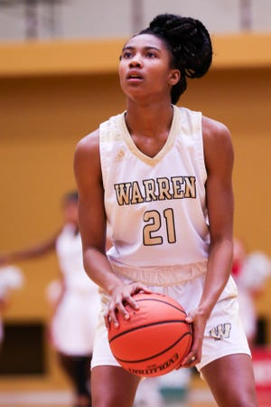 Warren Central's K'Ja Talley (21) at the free point line during the second half of Lawrence North vs. Warren Central High School varsity girls basketball held at Warren Central High School, December 14, 2018.