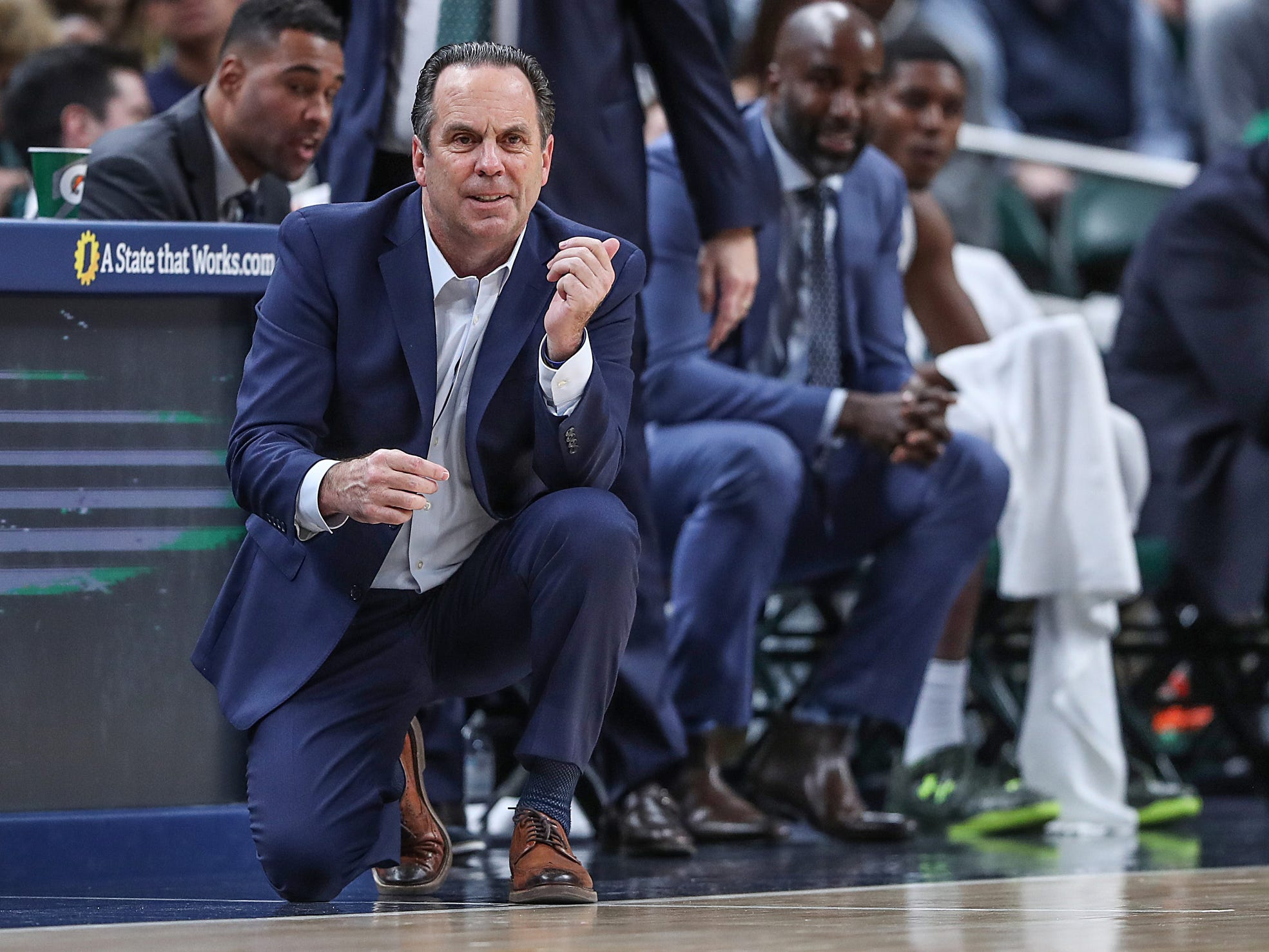 Notre Dame Fighting Irish head coach Mike Brey watches game play in the second half of the Crossroads Classic game between Purdue and Notre Dame at Bankers Life Fieldhouse in Indiananpolis, Saturday, Dec. 15, 2018. Notre Dame won, 88-80.