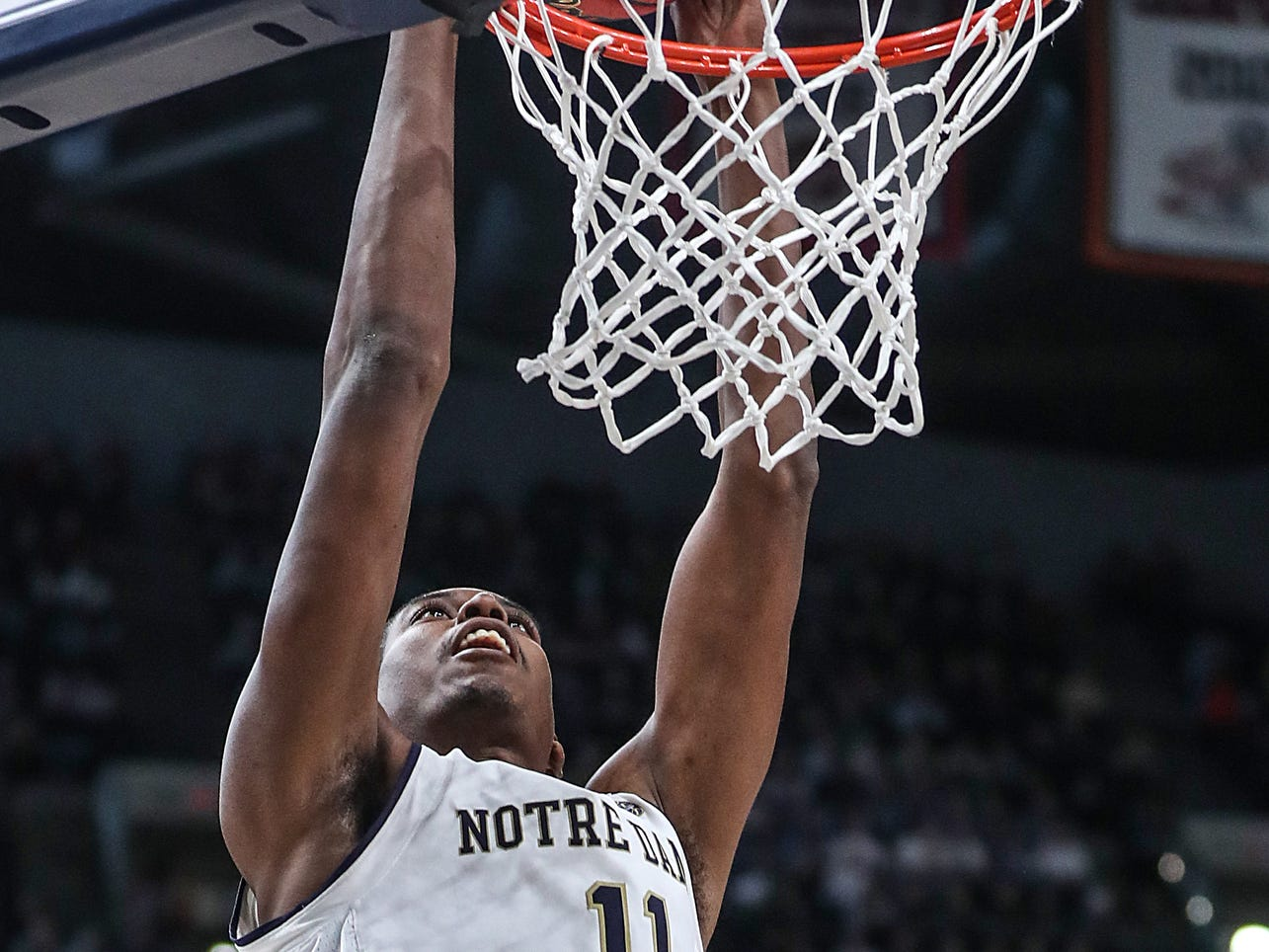 Notre Dame Fighting Irish forward Juwan Durham (11) dunks in the first half of the Crossroads Classic game between Purdue and Notre Dame at Banker's Life Fieldhouse in Indianapolis, Saturday, Dec. 15, 2018.
