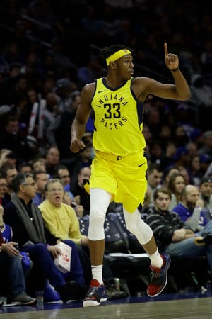 Indiana Pacers' Myles Turner in action during an NBA basketball game against the Philadelphia 76ers, Friday, Dec. 14, 2018, in Philadelphia. (AP Photo/Matt Slocum)