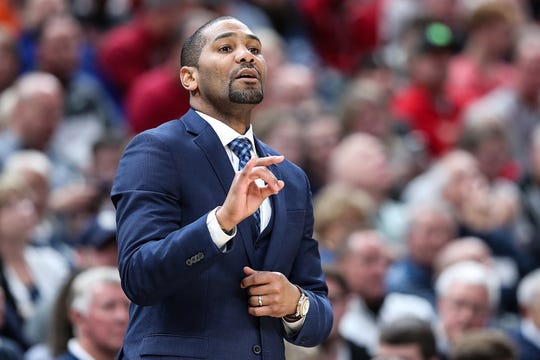 Butler Bulldogs head coach LaVall Jordan directs his team in the first half of the Crossroads Classic game between Butler and IU at Banker's Life Fieldhouse in Indianapolis, Saturday, Dec. 15, 2018.