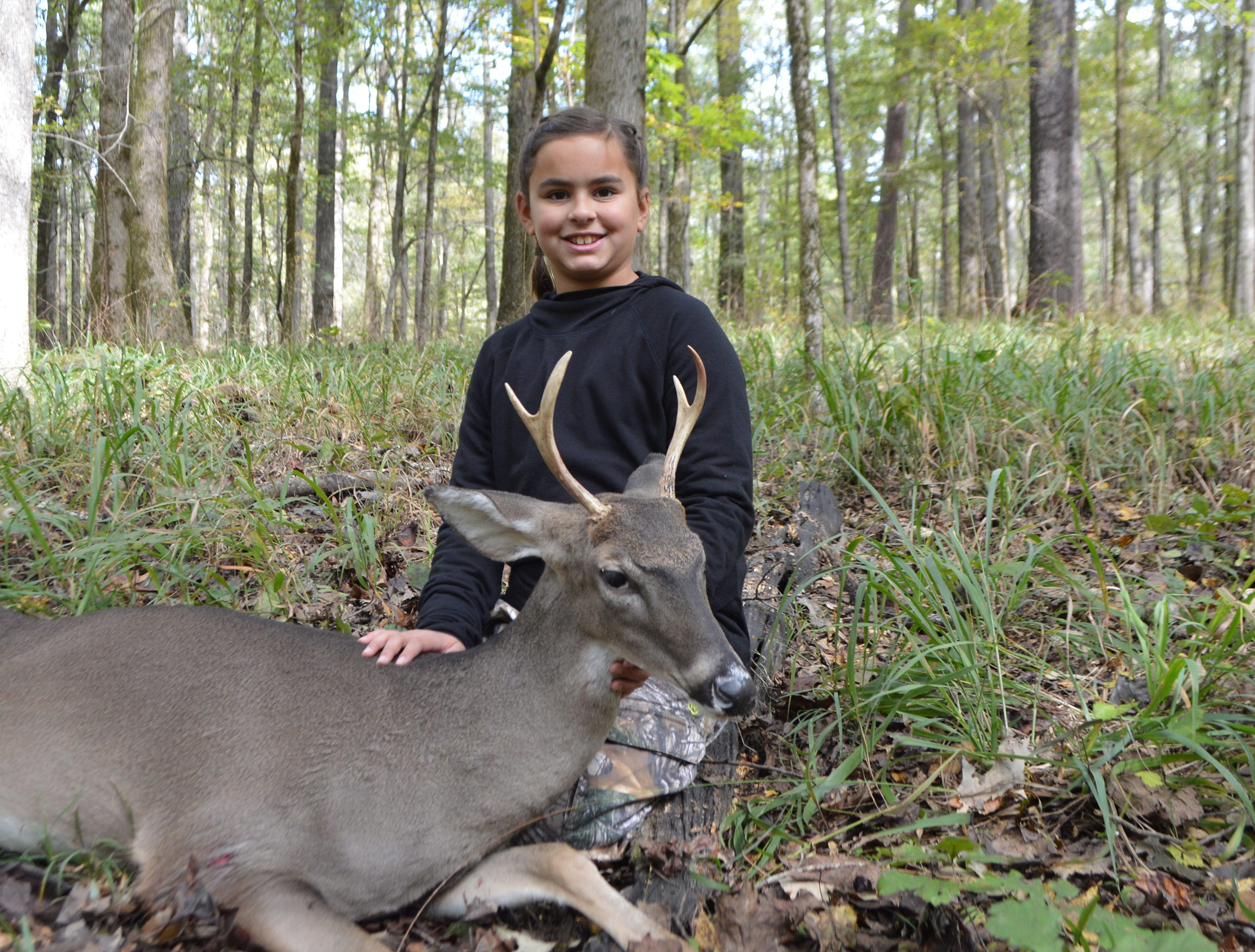 Clair Farrell 10, of Waveland, killed her first buck while hunting public land with her father. She shot the deer at 80 yards while hunting from a ground blind.