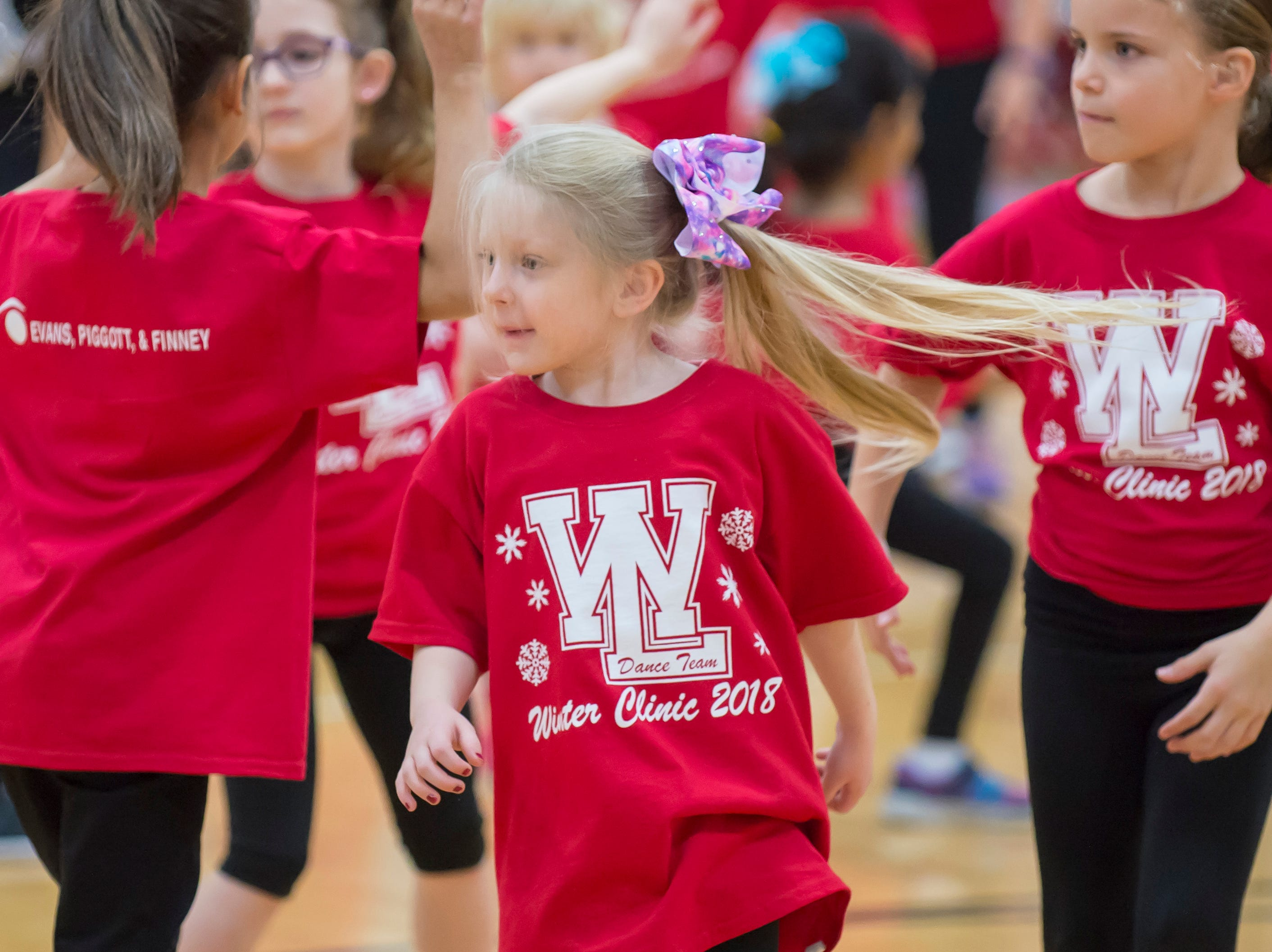 Halftime performance featured the Winer Dance Team Clinic at the Benton Central at West Lafayette basketball game on December 14, 2018