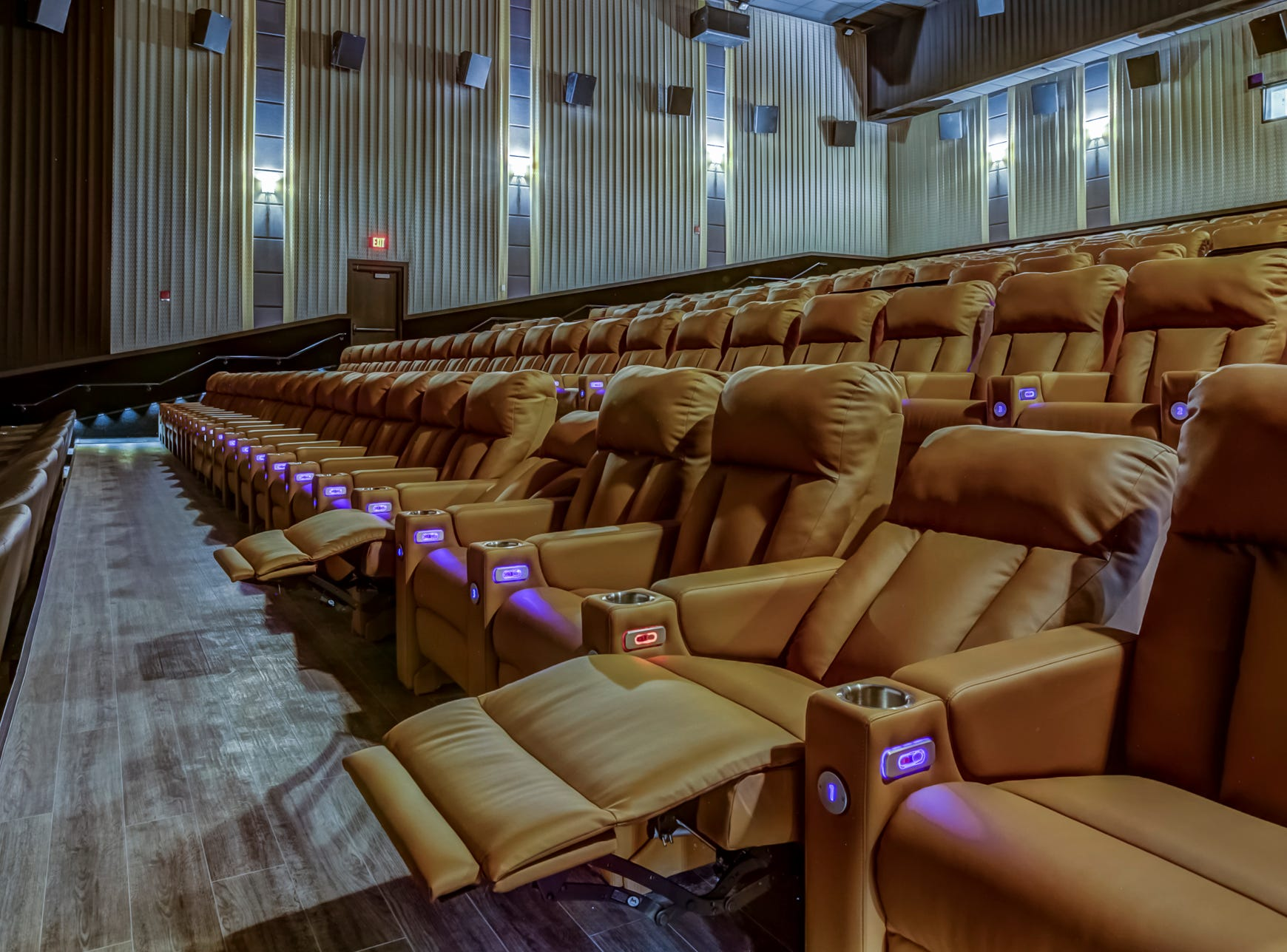 Reclining seats in Emagine Entertainment's new movie theater Emagine Hartland, shown Friday, Dec. 14, 2018, are also heated.