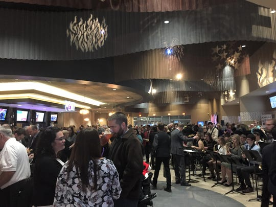 A crowd of 400 people gathered to celebrate the opening of Emagine Entertainment's new movie theater Emagine Hartland, Friday, Dec. 14, 2018, with musical accompaniment provided by Hartland High School's band.