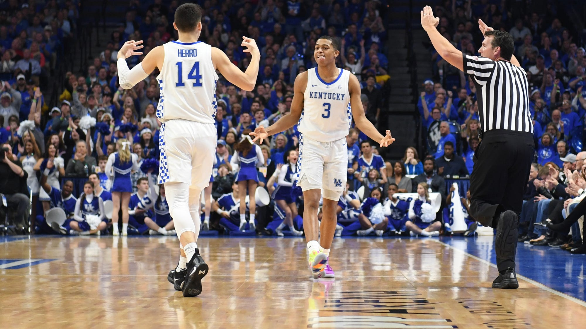 UK guard Tyler Herro and guard Keldon Johnson celebrate during the University of Kentucky men's basketball game against Utah at Rupp Arena in Lexington, Kentucky, on Saturday, Dec. 15, 2018.
