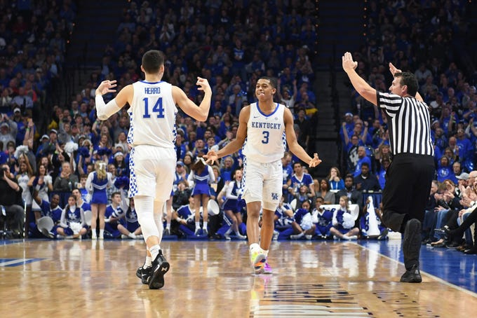 UK guard Tyler Herro and guard Keldon Johnson celebrate during the University of Kentucky men's basketball game against Utah at Rupp Arena in Lexington, Kentucky, on Saturday, Dec. 15, 2018.