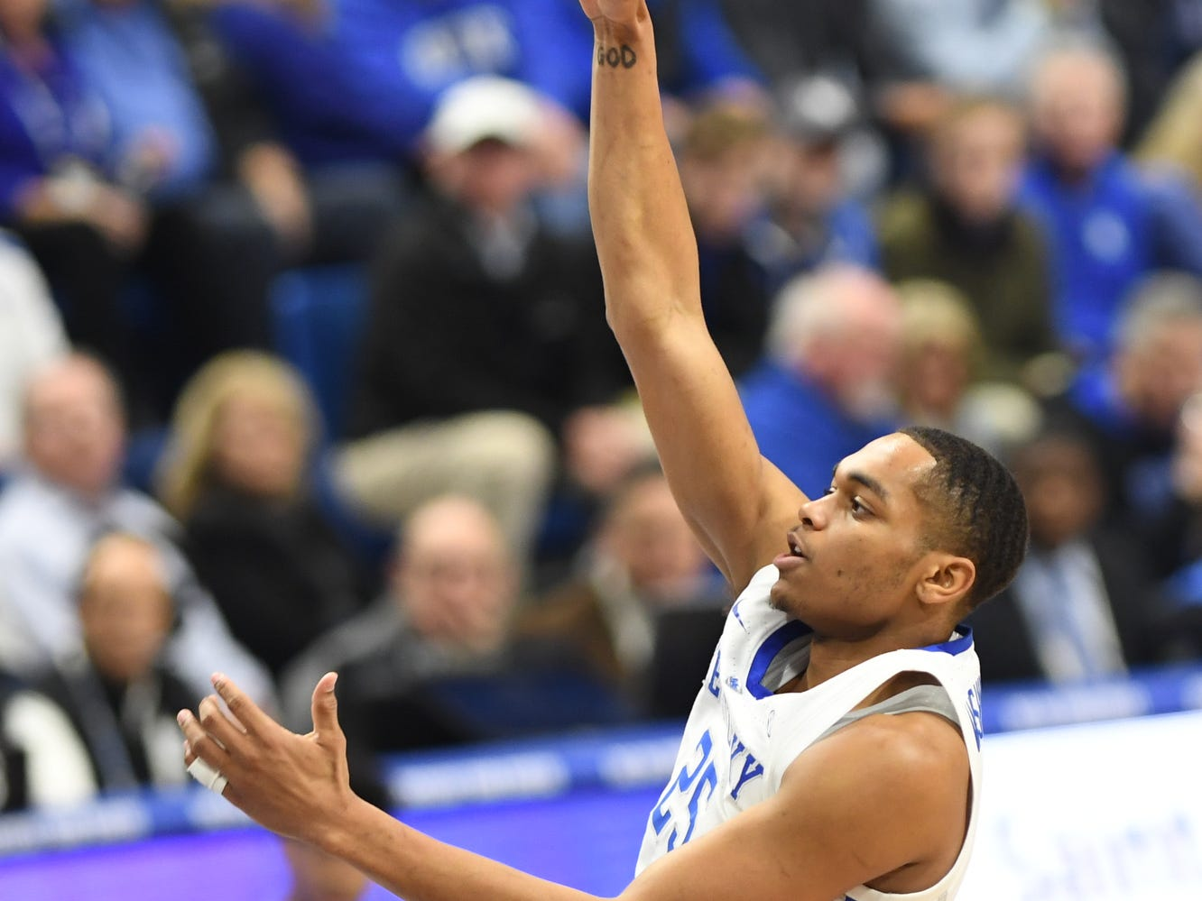 UK forward PJ Washington puts up a shot during the University of Kentucky men's basketball game against Utah at Rupp Arena in Lexington, Kentucky, on Saturday, Dec. 15, 2018.