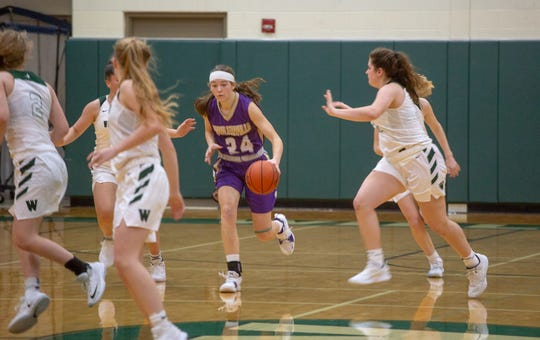 Fowlerville's Elie Smith brings the ball up the court in a 39-34 loss at Williamston on Friday, Dec. 14, 2018.