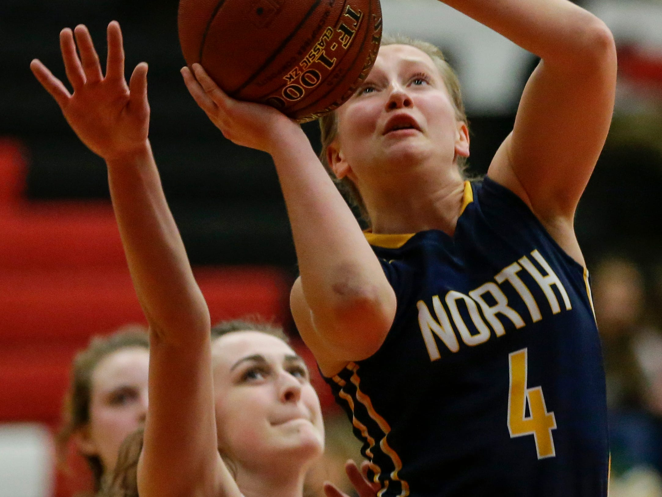 Sheboygan North's Julia Scharinger puts up a shot against Manitowoc Lincoln during a Fox River Classic Conference game at Manitowoc Lincoln High School Friday, December 14, 2018, in Manitowoc, Wis. Joshua Clark/USA TODAY NETWORK-Wisconsin