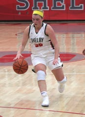 Shelby's Bailey Walter dribbles down the court earlier in the season.