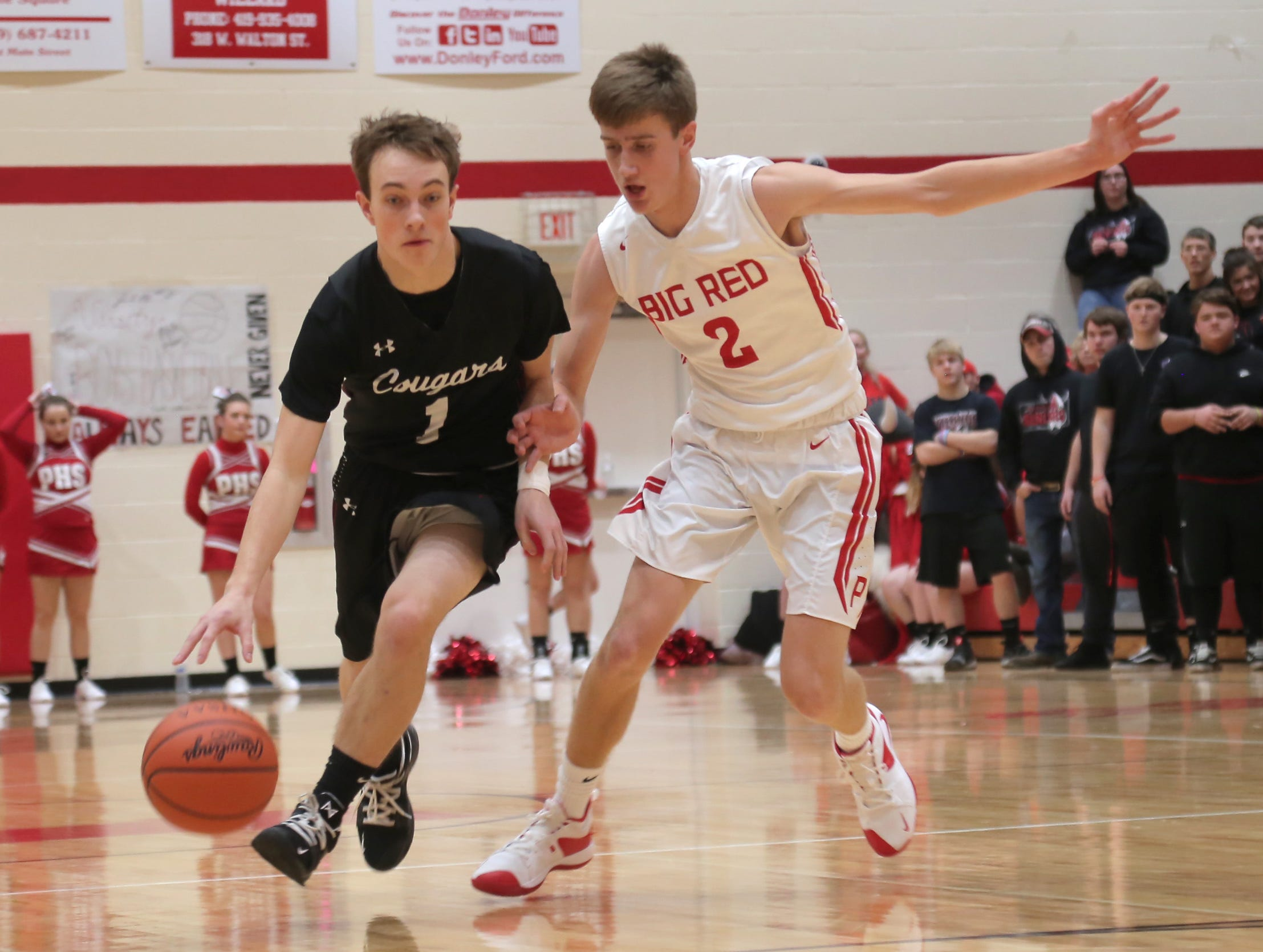 Crestview's Jacob Greer dribbles against Plymouth's Jacob Adams on Friday.