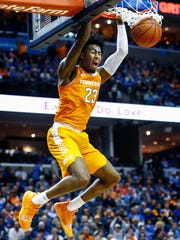 Tennessee guard Jordan Bowden goes up for a dunk against the Memphis defense during action at the FedExForum, Saturday, December 15, 2018.