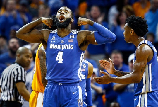 Memphis forward Raynere Thornton celebrates during action against Tennessee at the FedExForum, Saturday, December 15, 2018.