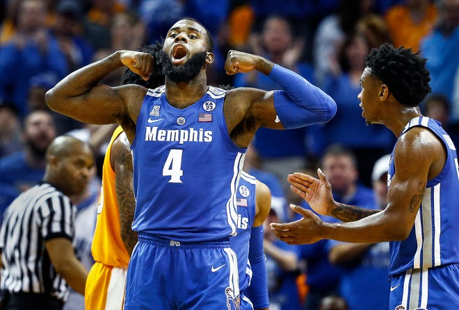 Memphis forward Raynere Thornton celebrates during Saturday's game against Tennessee at FedExForum.