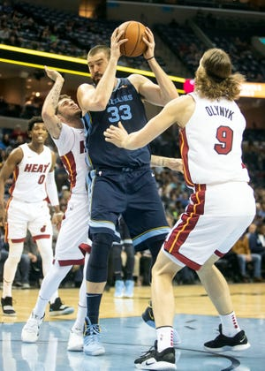 Memphis Grizzles center Marc Gasol (33), attempts to shot over Miami Heat forward Kelly Olynky (9),  during the first half of  a NBA basketball game between the Memphis Grizzlies and the Miami Heat in the Fedex Forum, Friday, Dec. 14, 2018.
