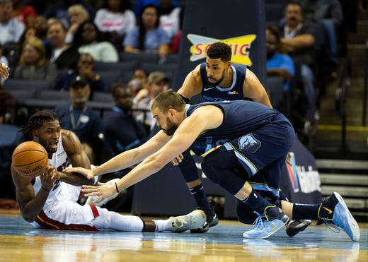 Memphis Grizzles center Marc Gasol (33) and Miami Heat forward Justise Winslow (20), scramble for a loose ball during the first half of a NBA basketball game between the Memphis Grizzlies and the Miami Heat in the Fedex Forum, Friday, Dec. 14, 2018.
