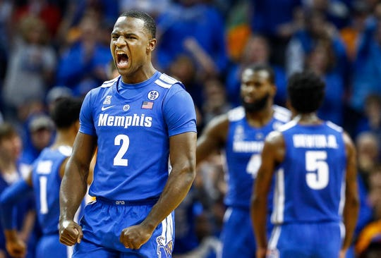 Memphis guard Alex Lomax celebrates during action against Tennessee at the FedExForum, Saturday, December 15, 2018.