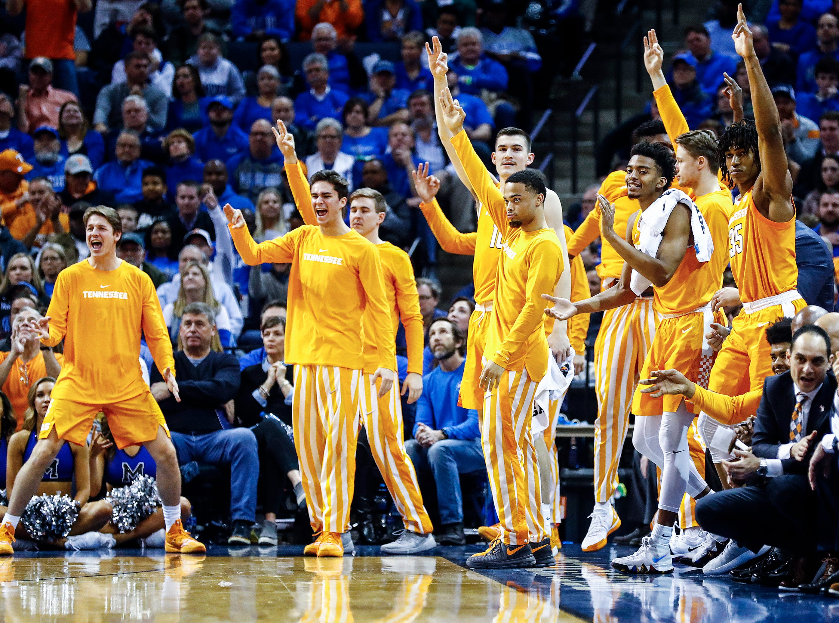 Tennessee bench celebrates a made 3-pointer against Memphis during action at the FedExForum, Saturday, December 15, 2018.