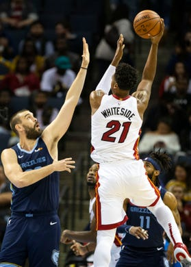 Memphis Grizzles center Marc Gasol (33), attempts block a shot by Miami Heat center Hassan Whiteside (21), during the first half of  a NBA basketball game between the Memphis Grizzlies and the Miami Heat in the Fedex Forum, Friday, Dec. 14, 2018.
