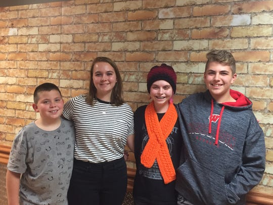 Addie Bavuso (third from right) poses for a picture with her siblings (from left) Nathan, 9; sister Bianca, 19;  brother Kaiden, 13.