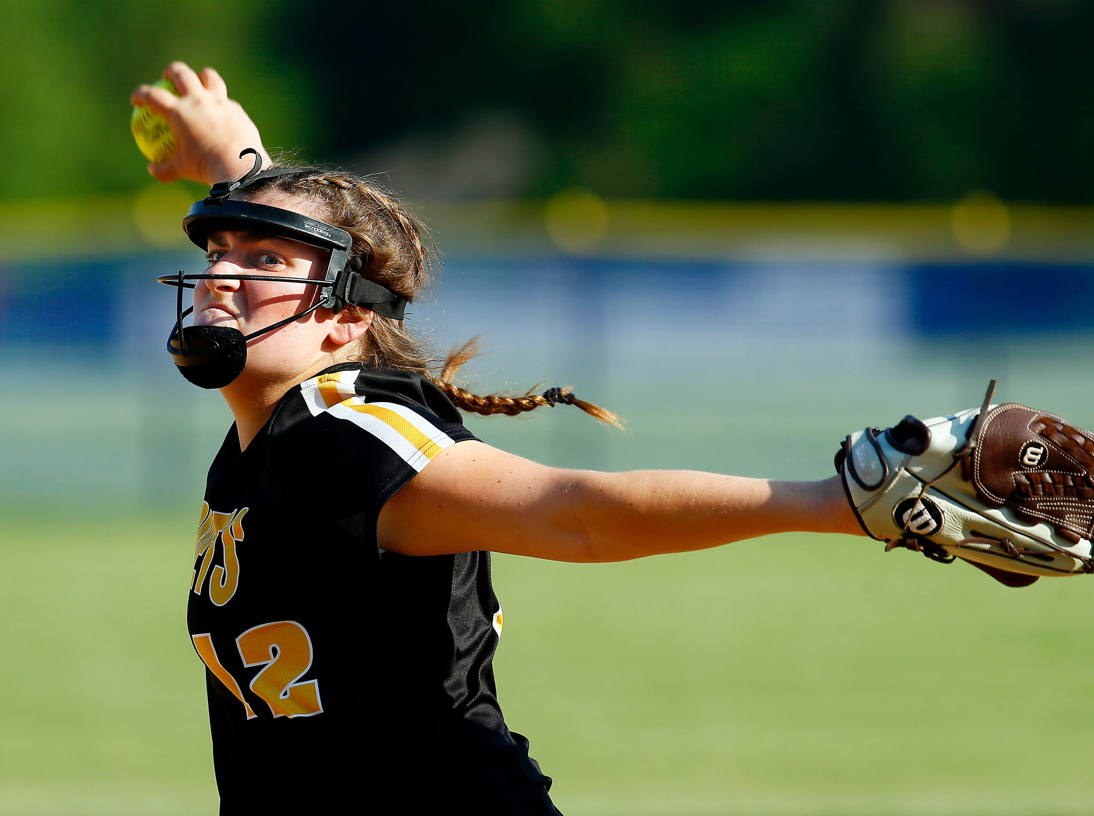 Hanover Park pitcher Jessica Miller throws vs. Parsippany in the NJSIAA North 2 Group II softball final. May 29, 2018. Parsippany, NJ