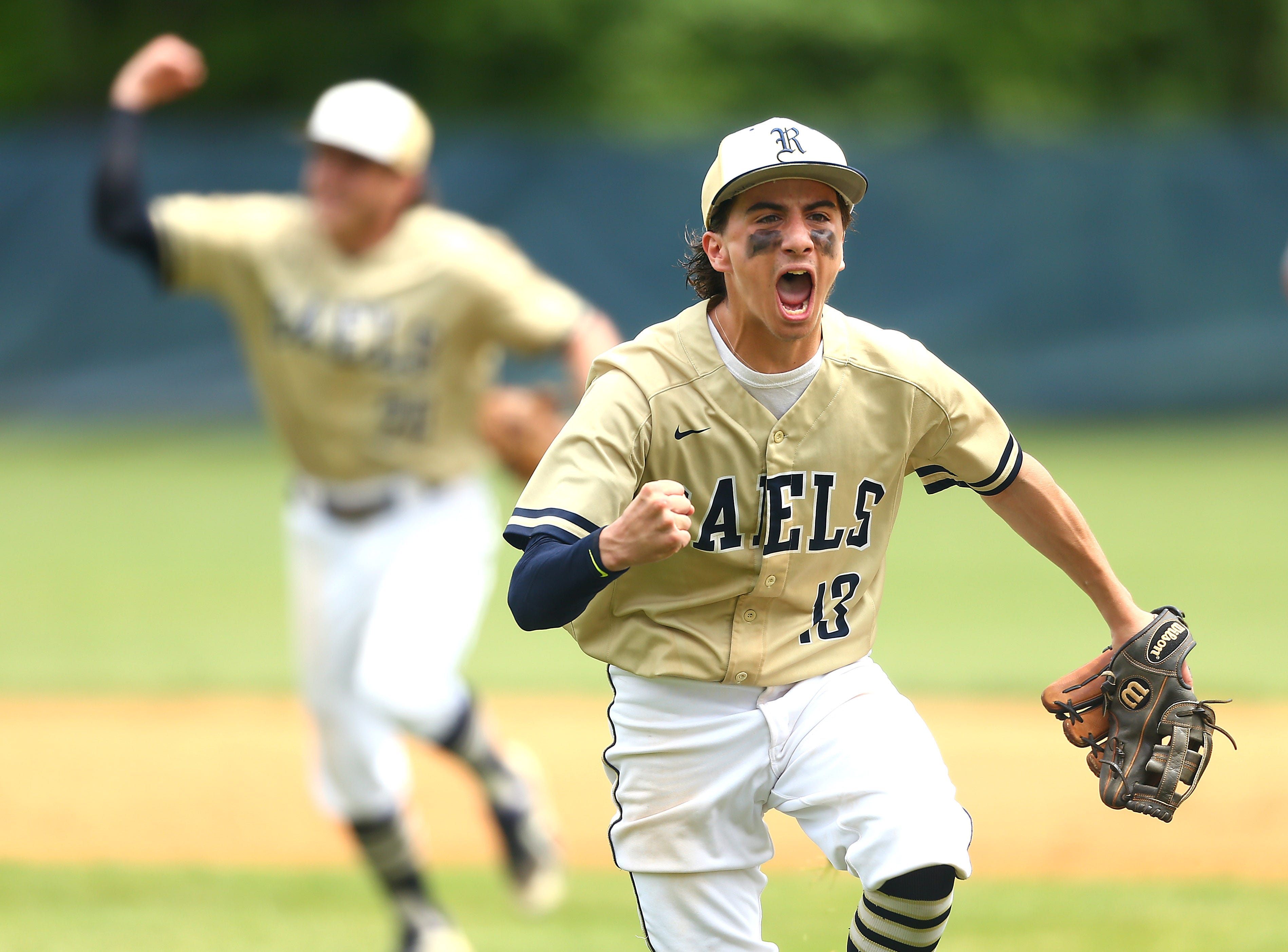 Roxbury second baseman Brian Dachowski  lets out a yell after the Gaels got out of bases loaded inning vs. Pascack Valley in NJSIAA North 1 Group III baseball final. June 1, 2018. Roxbury, NJ