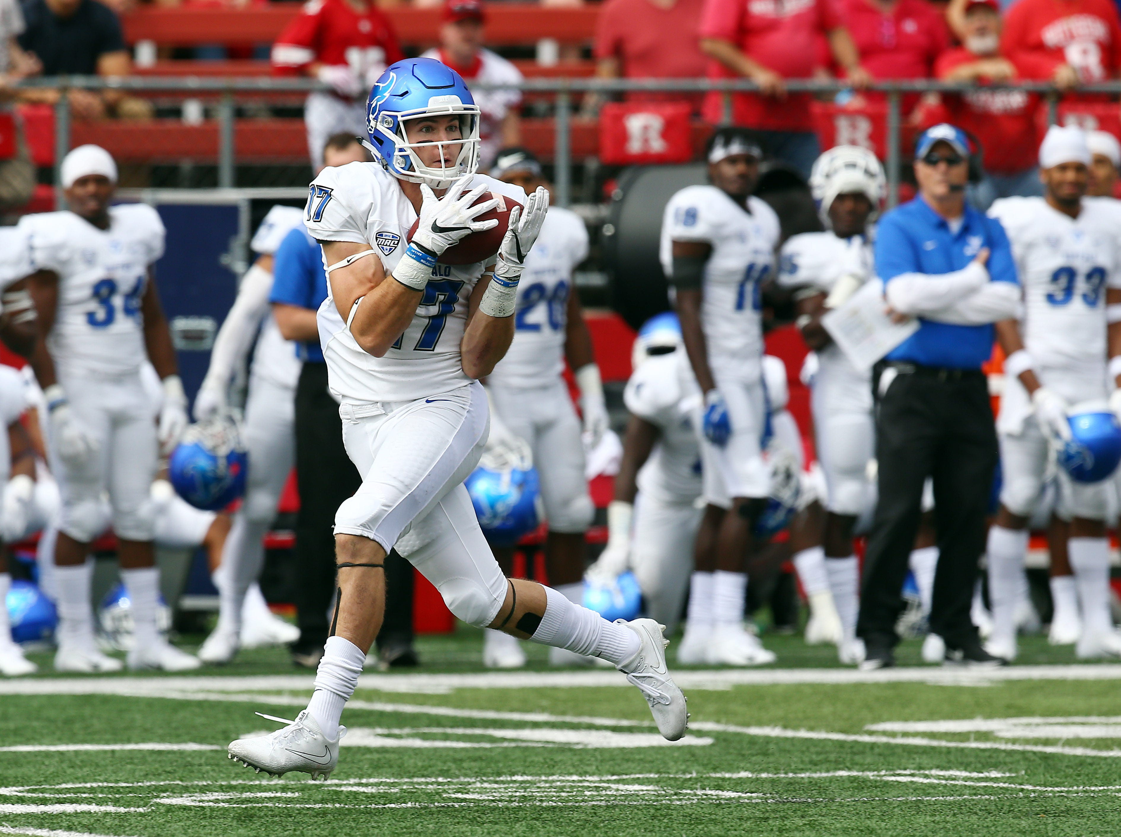 Buffalo Bulls receiver Charlie Jones pulls in a pass on his way to a first half touchdown at HighPoint.com Stadium in Piscataway. September 22, 2018, Piscataway, NJ