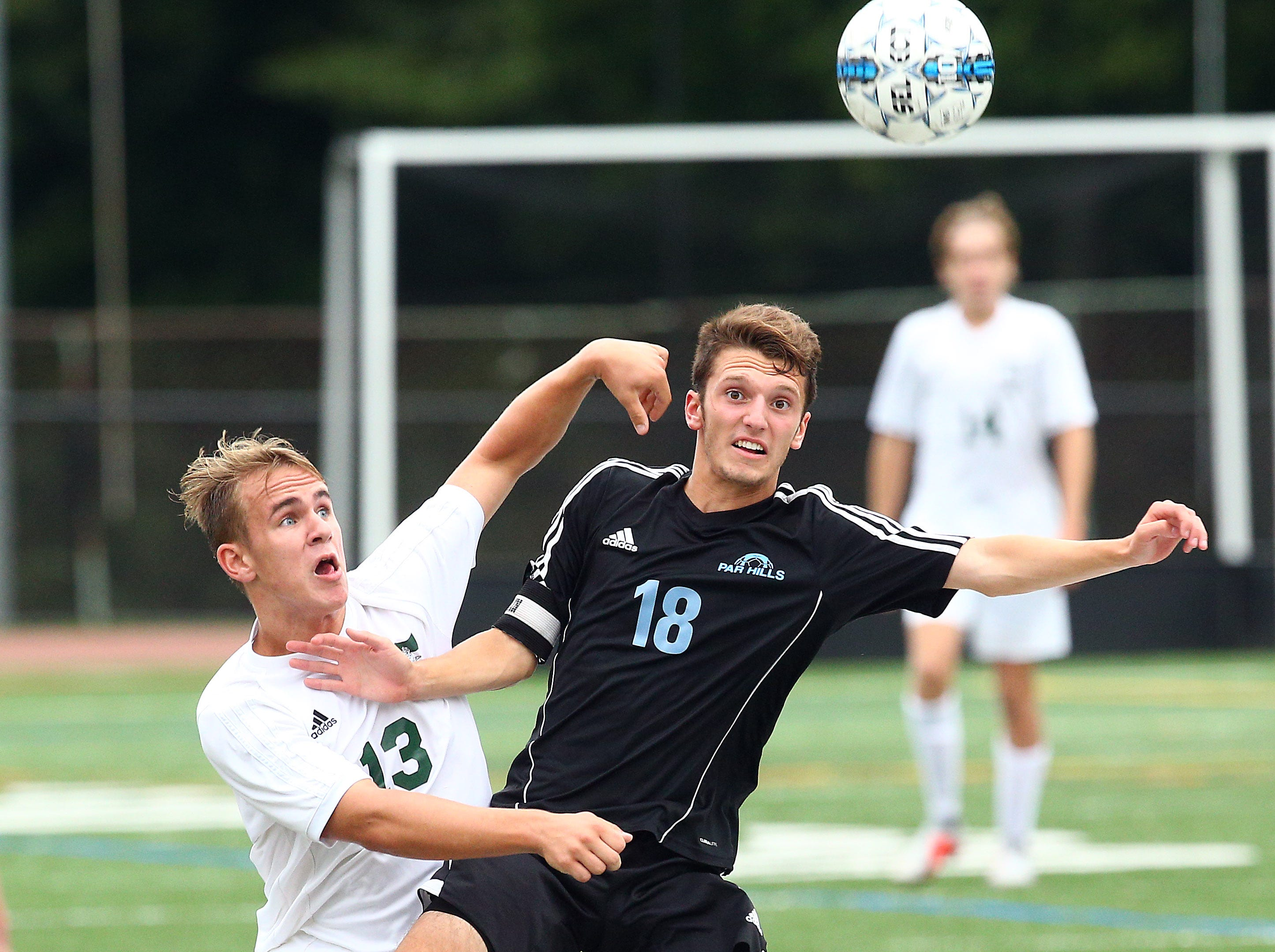 Morris Knolls Andrew Sceurman vs. Parsippany Hills Aidan Zitelli during their boys soccer match. September 27, 2018, Parsippany, NJ