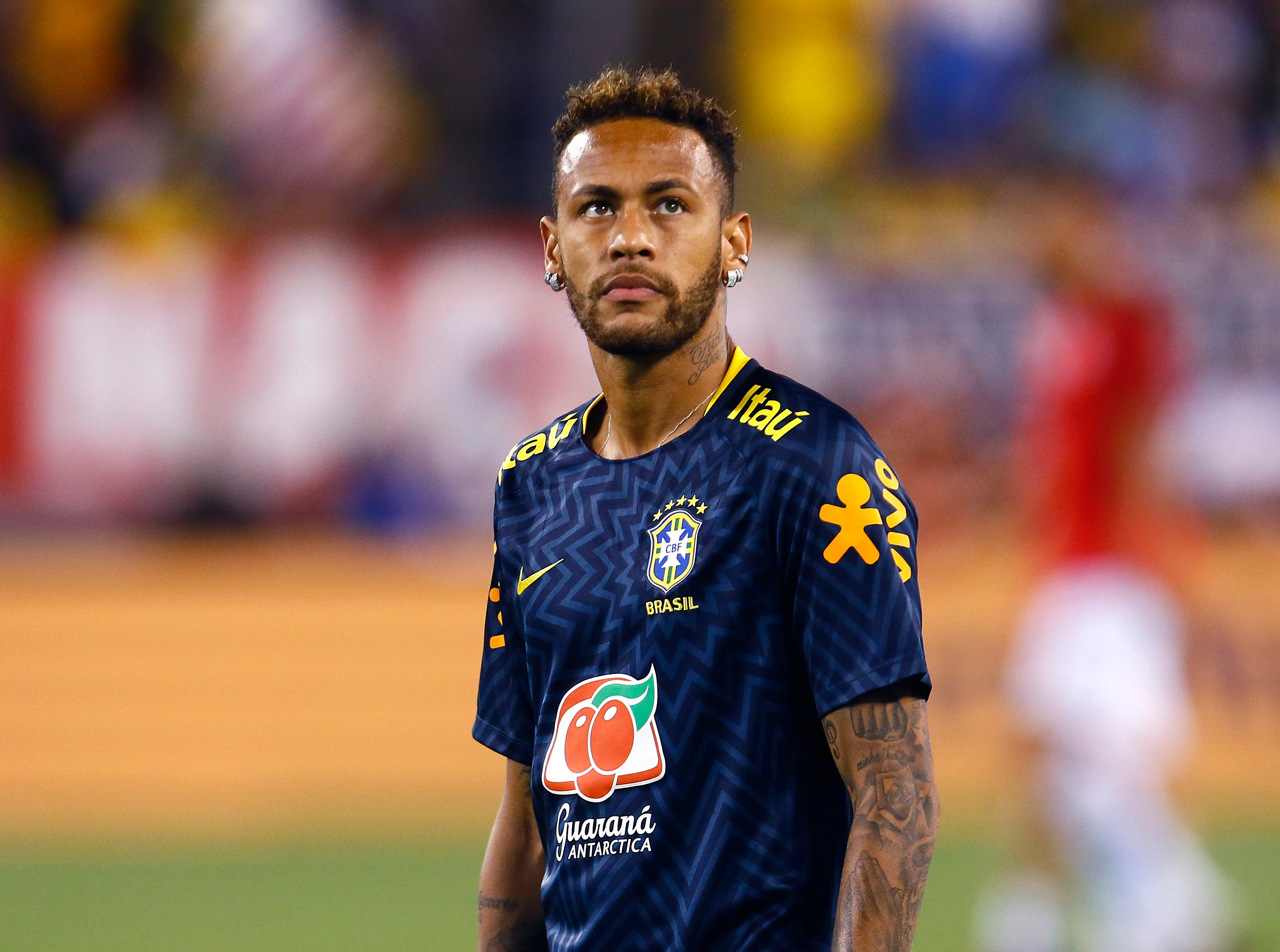 Brazilian and French club Paris Saint-Germain star Neymar takes on the  U.S. Men's National Team's in an international friendly against Brazil at MetLife Stadium in East Rutherford, N.J. The US was defeated 2-0 by the five-time World Cup champions. September 7, 2018, East Rutherford, NJ