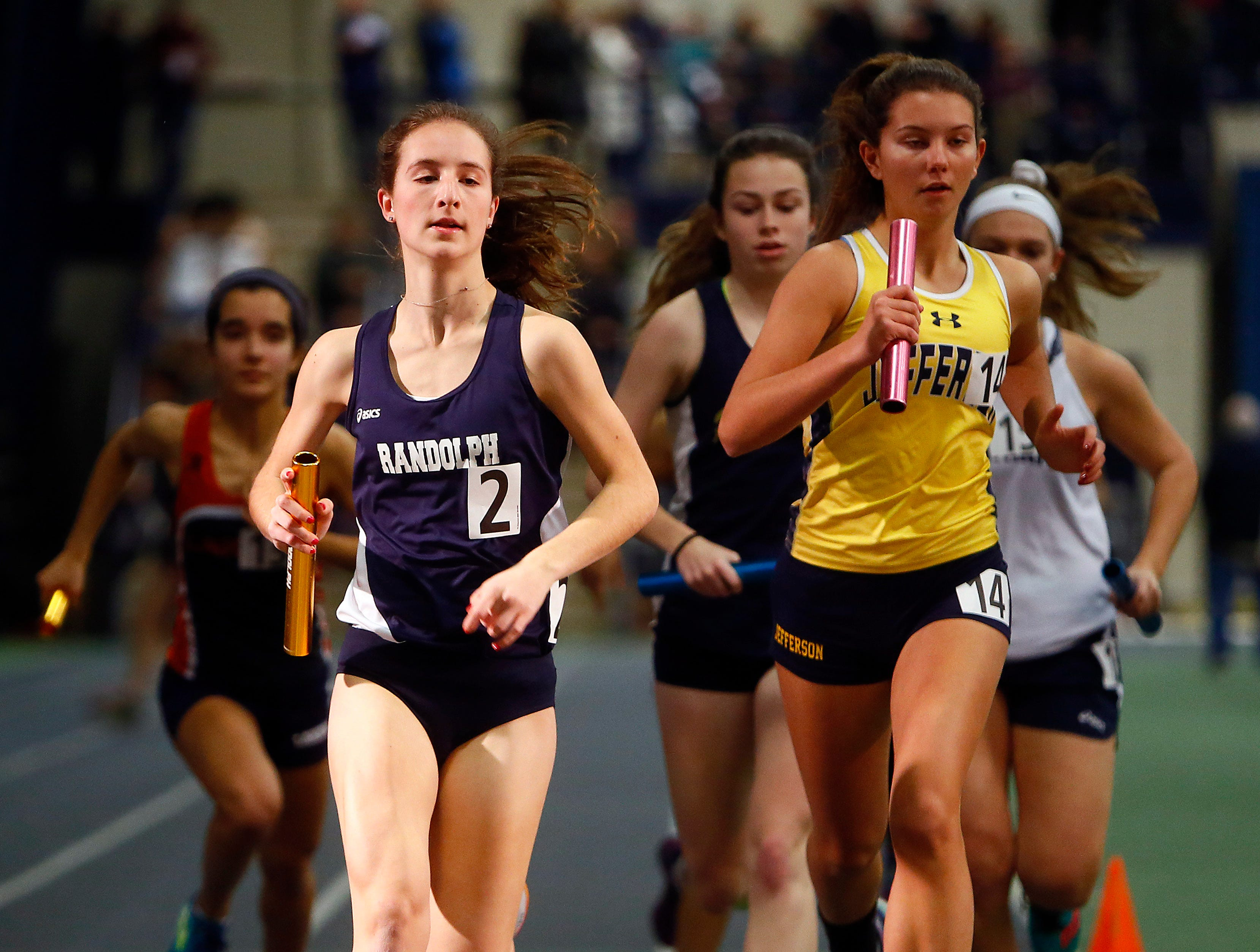 Randolph junior Abby Loveys during the girls distance medley at the Morris County Relay Championships at Drew University.  January 5, 2018. Madison, NJ.