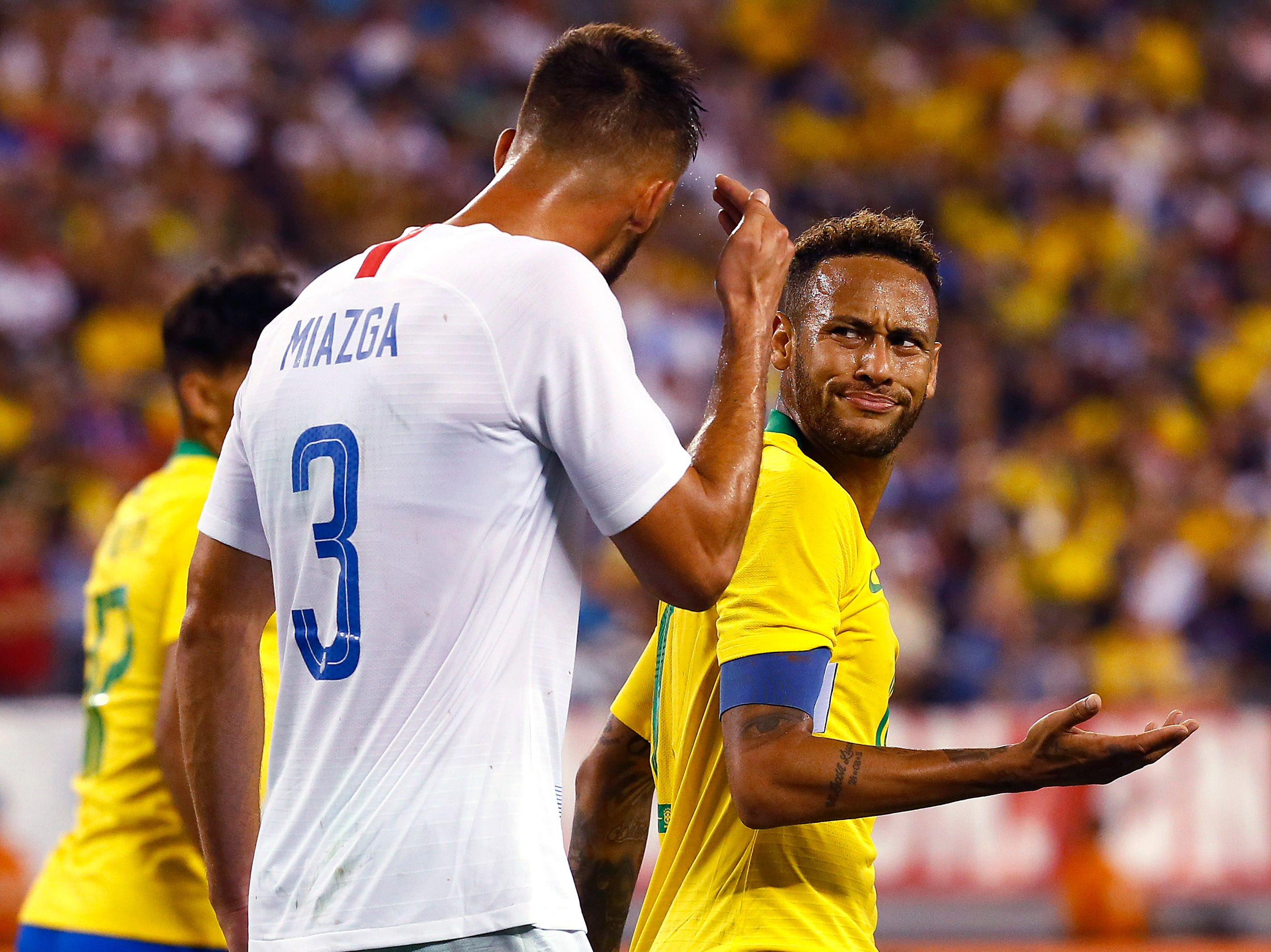 Brazilian and French club Paris Saint-Germain star Neymar has words with U.S. Men's National Team's Matt Miazga of Clifton, NJ in an international friendly against Brazil at MetLife Stadium in East Rutherford, N.J. The US was defeated 2-0 by the five-time World Cup champions. September 7, 2018, East Rutherford, NJ