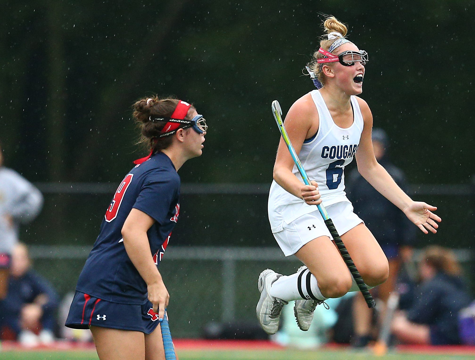 Chatham's Anne Leverich celebrates her first half goal vs. Mendham during their NJAC-American field hockey game at Haas Field in Chatham. September 12, 2018, Chatham, NJ
