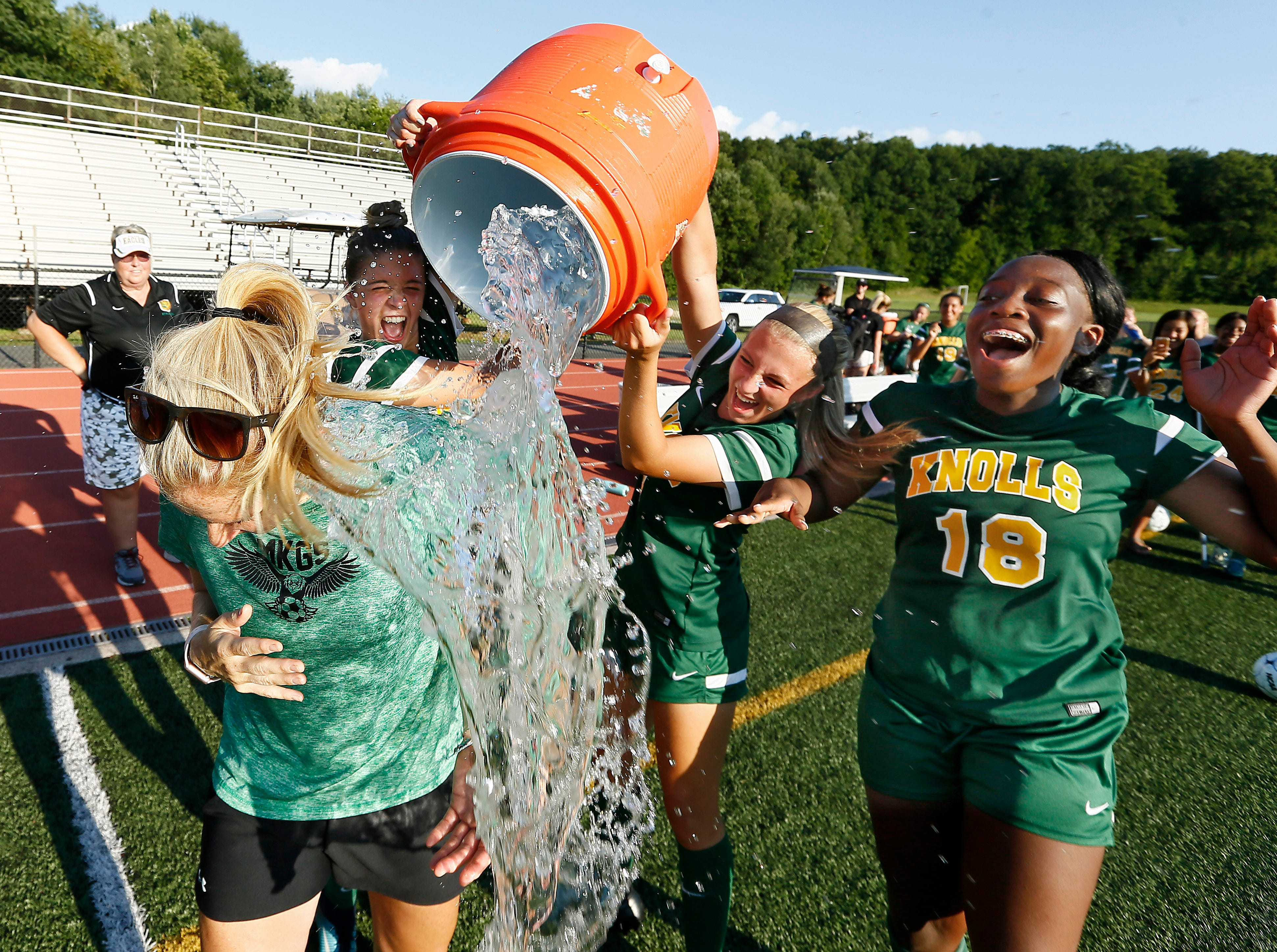 Morris Knolls coach Stephan Zdanowicz got her 200th career victory in the 2-0 win at home. Morris Knolls defeating Randolph in a NJAC-American girls soccer season opener. September 5, 2018, Denville, NJ