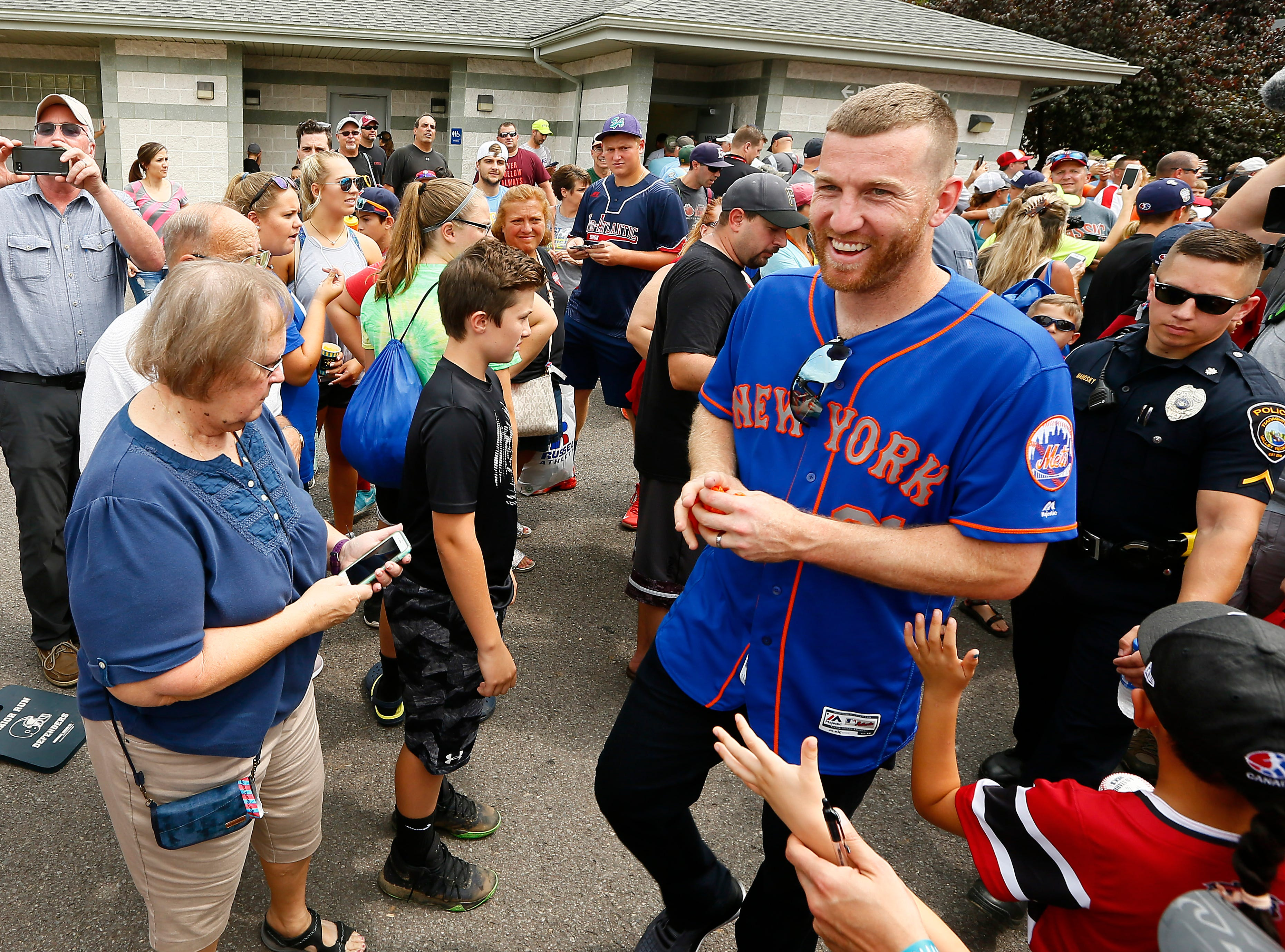 Member of the 1998 LLBWS Champion Toms River East American Little League team, Todd Frazier is given a heroes welcome as he and the New York Mets enter the Little League Baseball World Series complex. August 19, 2018, South Williamsport, Pa.