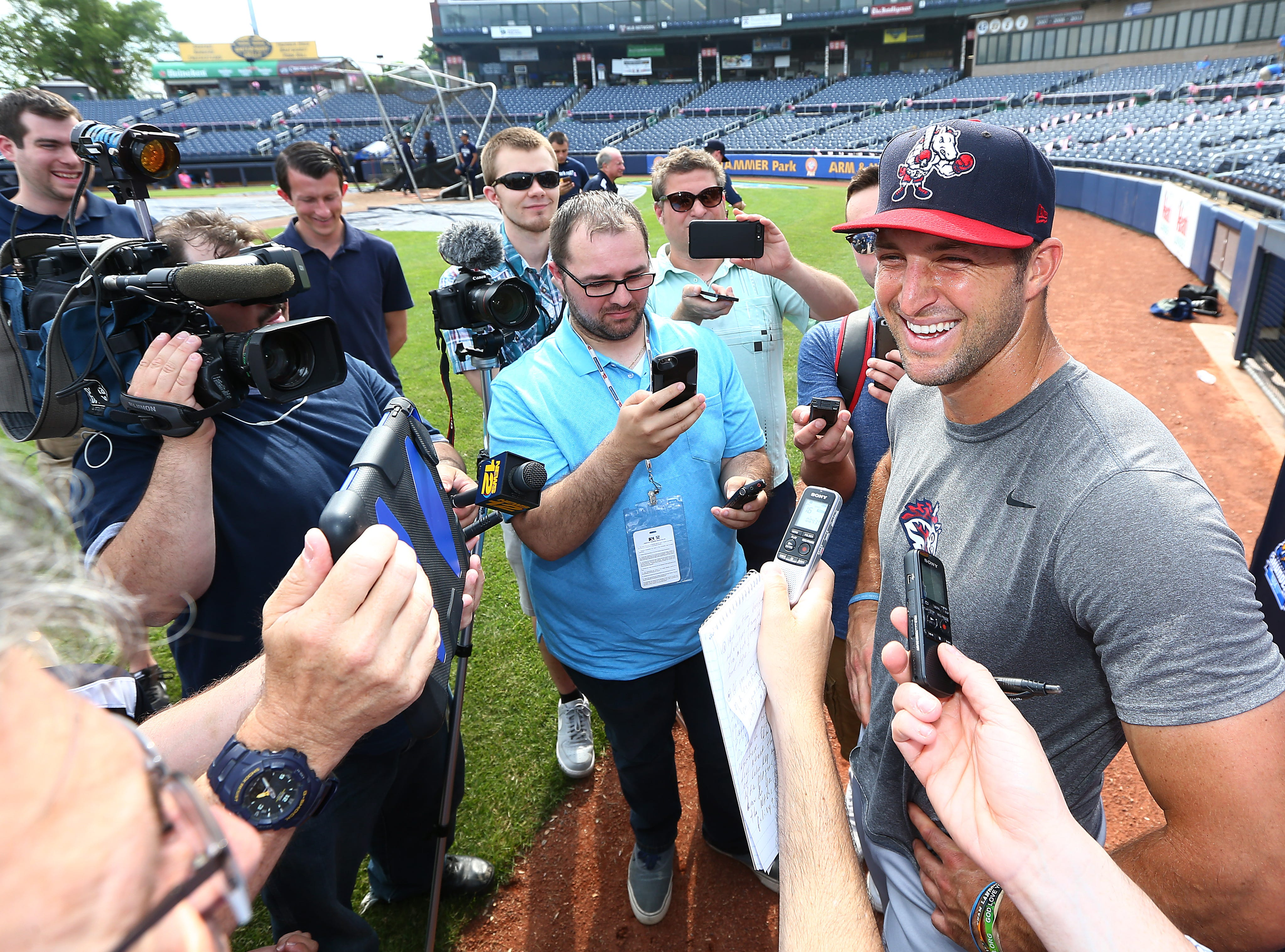 Outfielder Tim Tebow addressed the media in Trenton on Friday afternoon before he and the Mets Double-A affiliate Binghamton Rumble Ponies take on the Thunder in a three-game series at Arm & Hammer Park. June 7, 2018. Trenton, NJ