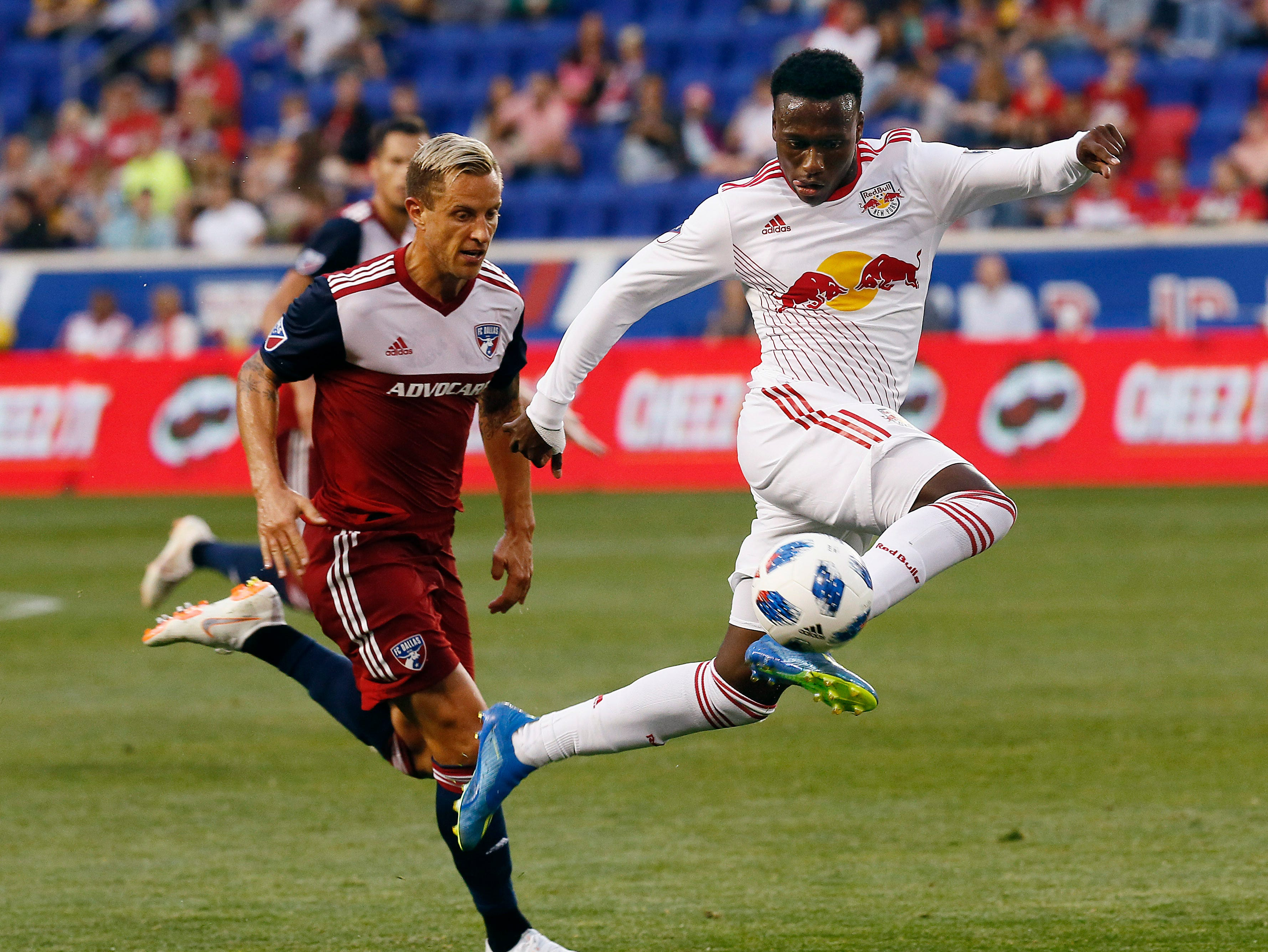 21-year-old Derrick Etienne Jr., Haitian footballer from Paterson, NJ currently playing for the New York Red Bulls and the Haiti national team vs FC Dallas at Red Bull Arena. June 23, 2018. Harrison, NJ