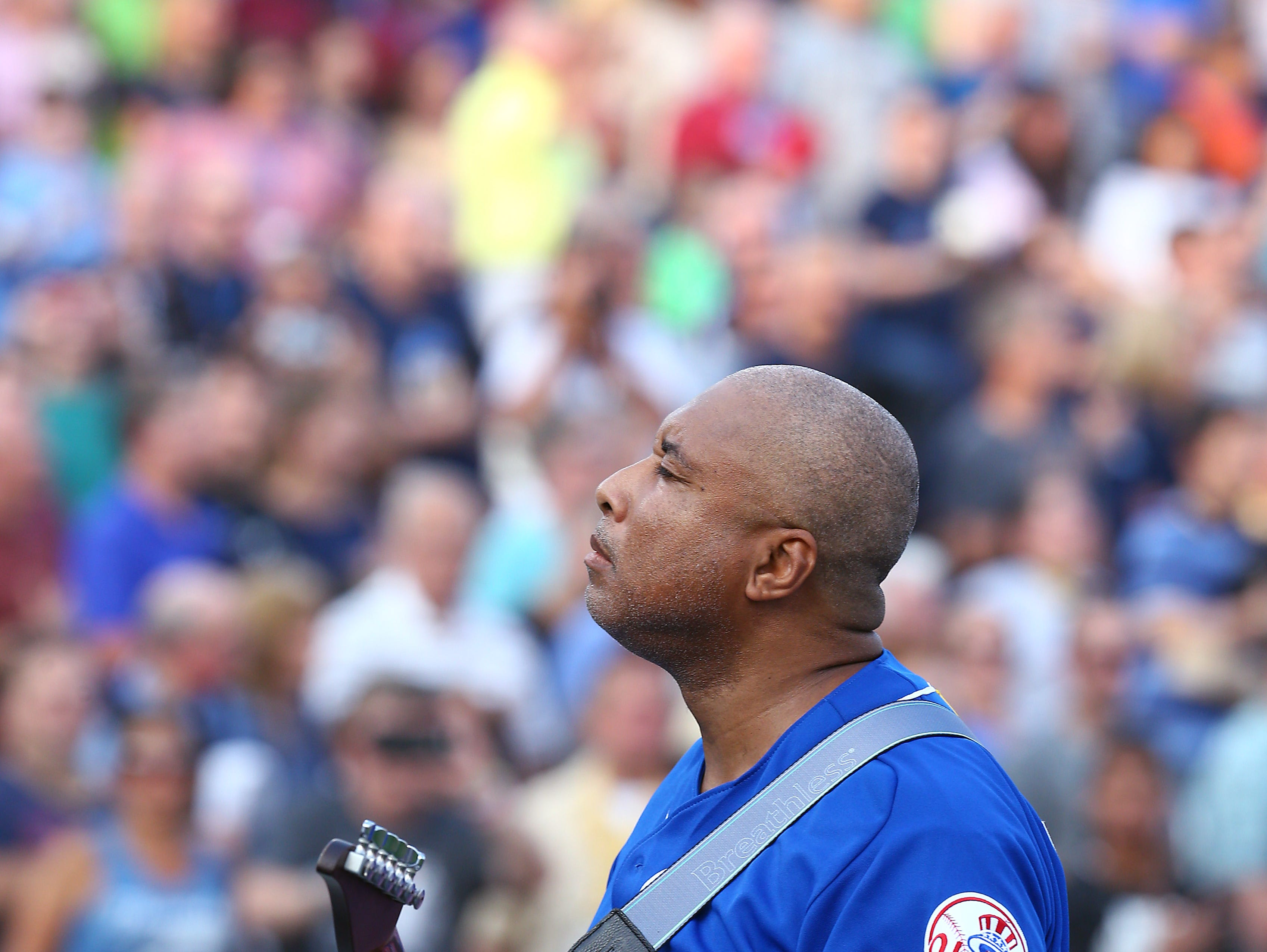 Former Yankee Bernie Williams performs the National Anthem before the Trenton Thunder hosts the 2018 Eastern League All-Star Classic at ARM & HAMMER Park in Trenton. July 11, 2018, Trenton, NJ.