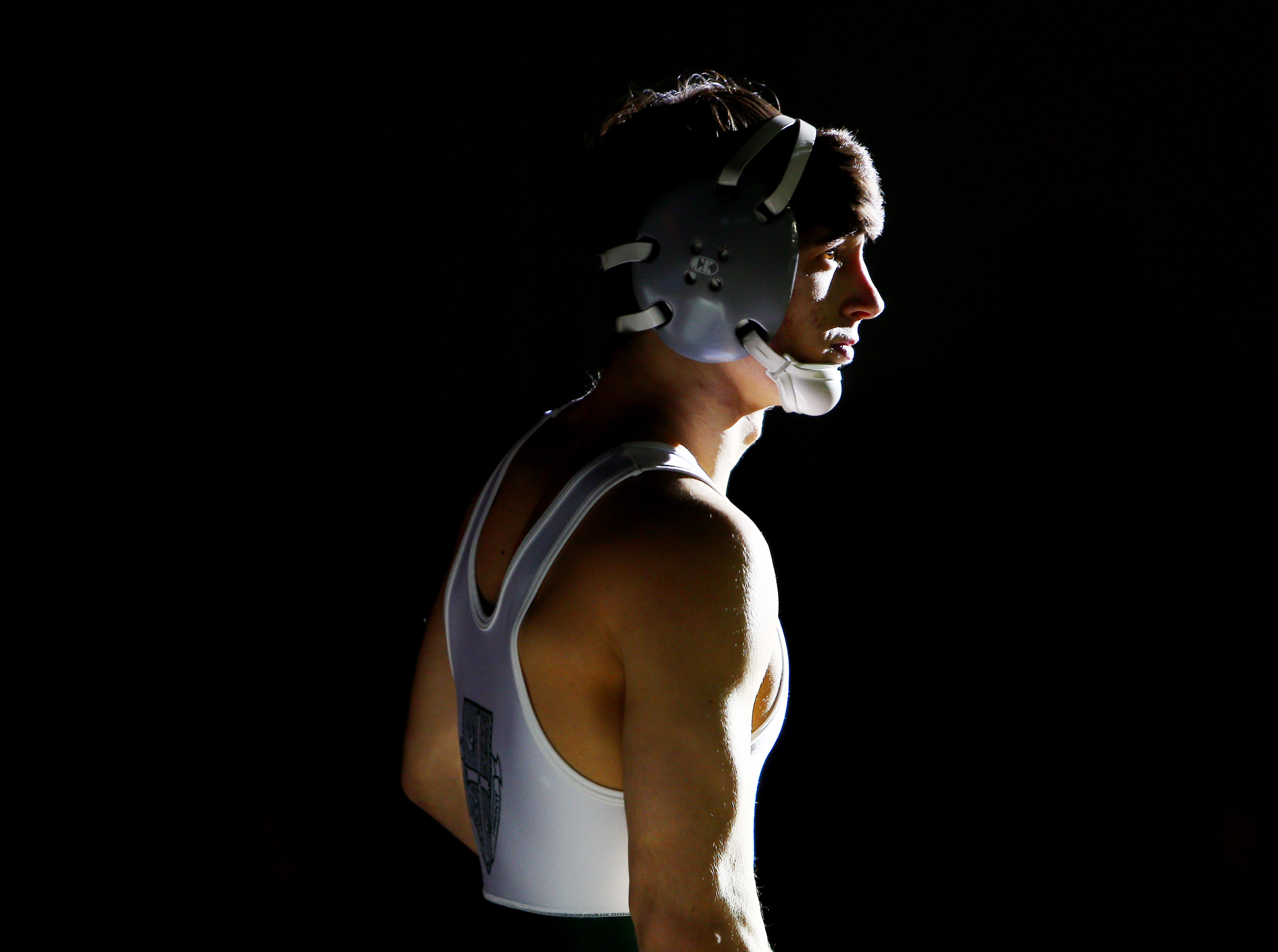 Patrick Glory of Delbarton before taking on Domenic Difrancescantonio of Hanover Park during the Region 3, 126 lb. wrestling final at West Orange High School. February 24, 2018. West Orange, NJ.